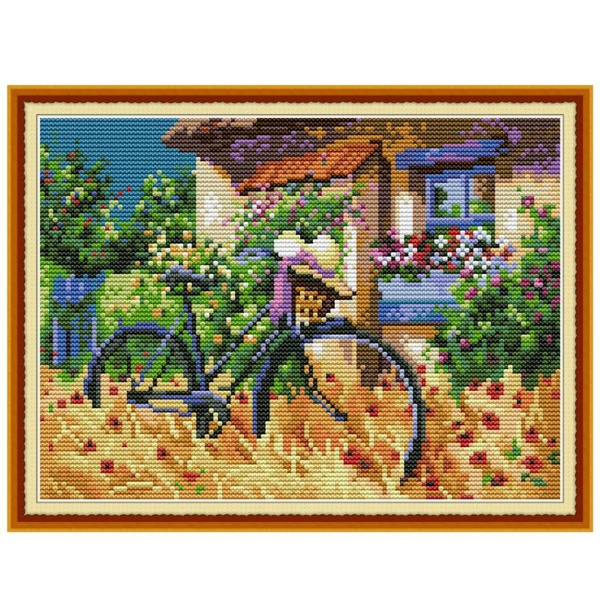 crossstitch, decoration, Bicycle, printed
