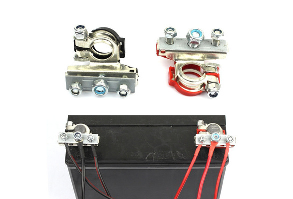 sourcing map 2Pcs Universal Brass Positive Negative Car Battery Terminal Clamp Clip Connector