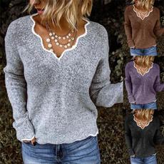 knitted, Women Sweater, Winter, Sleeve