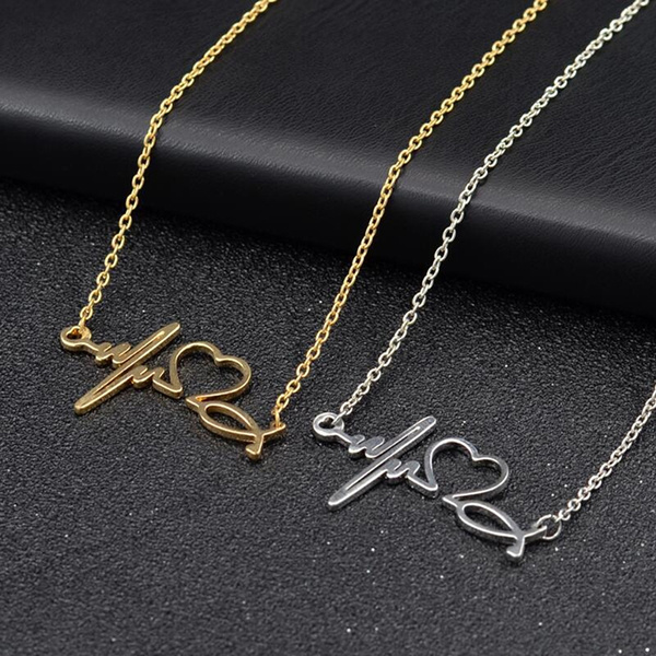 yellow gold, Heart, Chain Necklace, Fashion
