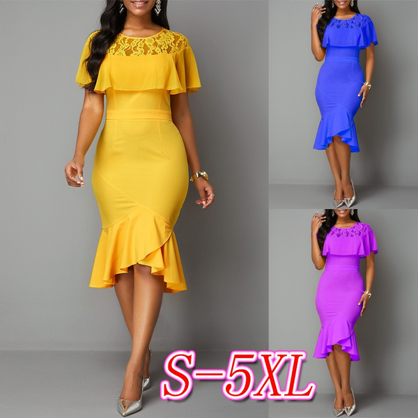 short sleeve dress, ruffle, Lace, solidcolordres