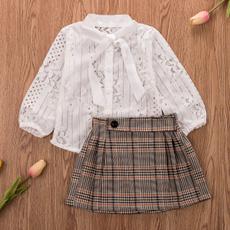 kids, babygirlautumnclothesset, plaidschecksskirt, Long Sleeve