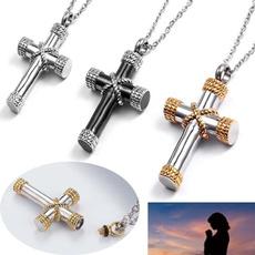 Steel, necklaces for men, punk necklace, Cross necklace