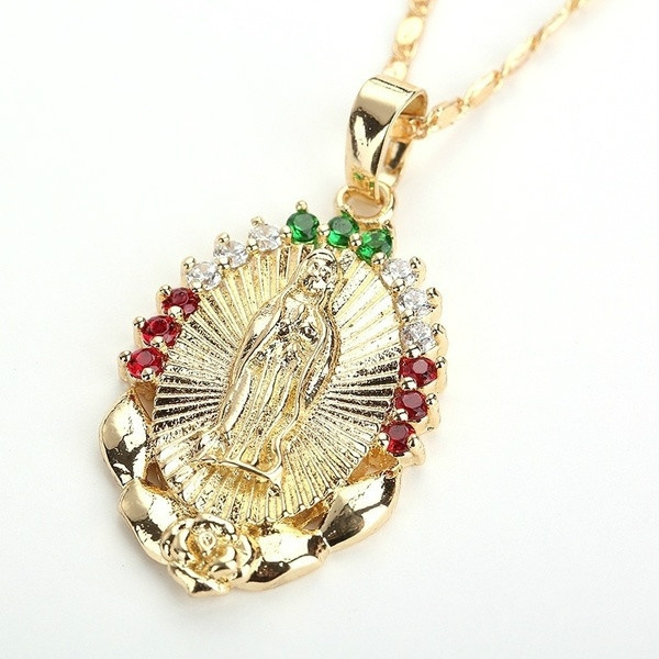 virginmarynecklace, goldplated, Fashion, Necklace