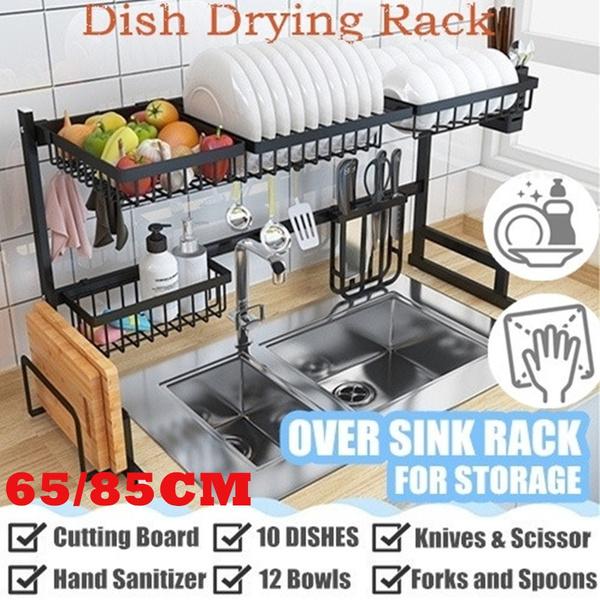 2 Tier Dish Drying Rack Over The Sink Dish Drying Rack Kitchen Utensils Holder Kitchen Supplies Storage Shelf Countertop Space Saver Display Stand Tableware Drainer Organizer Utensils Holder 65 85cm Wish