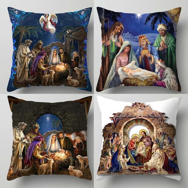 Home Decor, Cover, jesus, nativitypillowcase