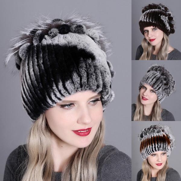 knitted, Outdoor, fur, women hats