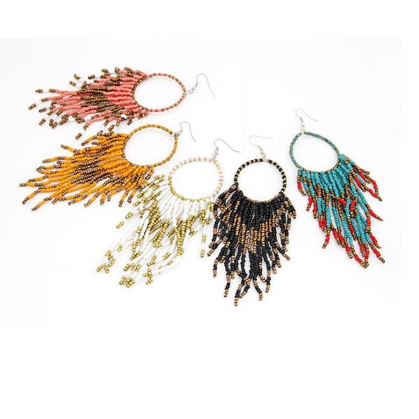 brincosgrande, bigearringsforwomen, Tassels, beadsearringsfashionjewelry