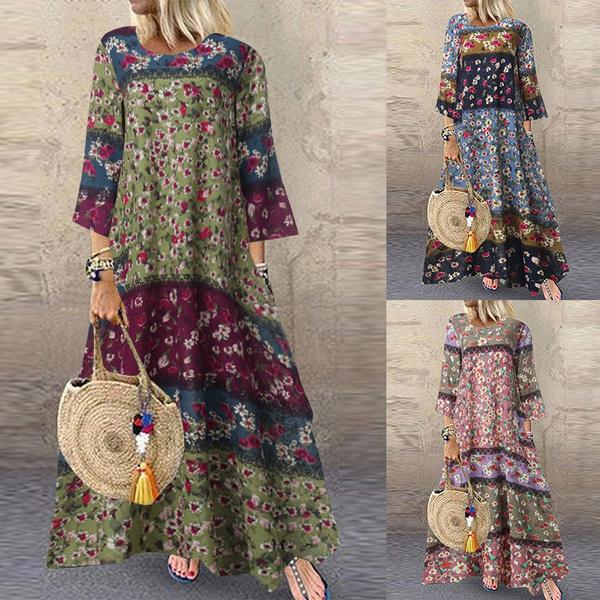 Women, Cotton, linen dress, Floral print