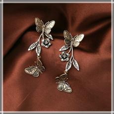 butterfly, Flowers, butterfly earrings, Beauty