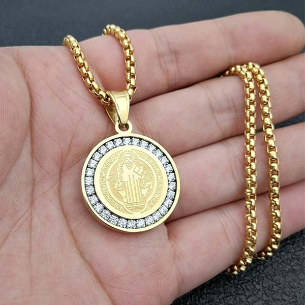 Steel, goldplated, necklaces for men, punk necklace
