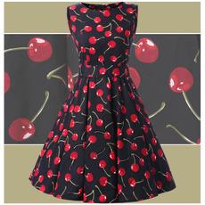Swing dress, pleated dress, chiffon dress, Cherry