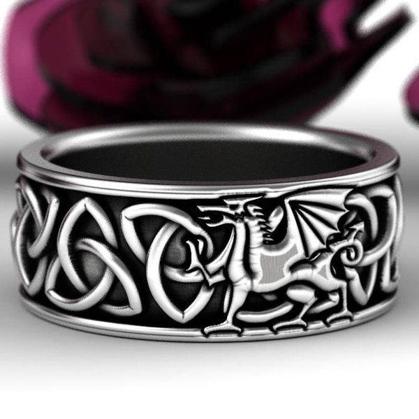 dragonringformen, Sterling, Celtic, weddingringsmen