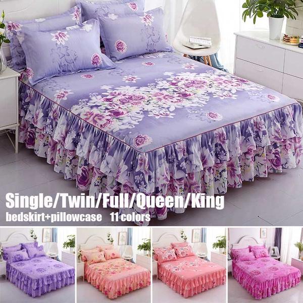 Lace, floralbedcover, bedskirtking, bedspreadset