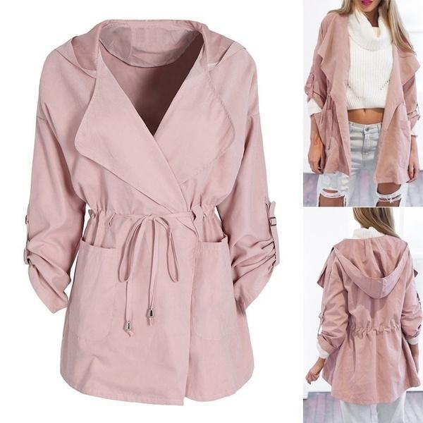 casual coat, hooded, Coat, Pure Color