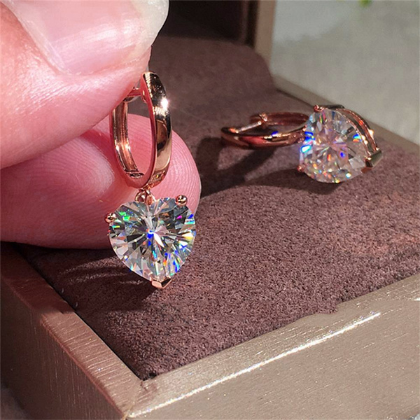 Heart, DIAMOND, gold, Stud Earring