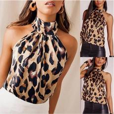 Summer, Moda, Halter, leopard print