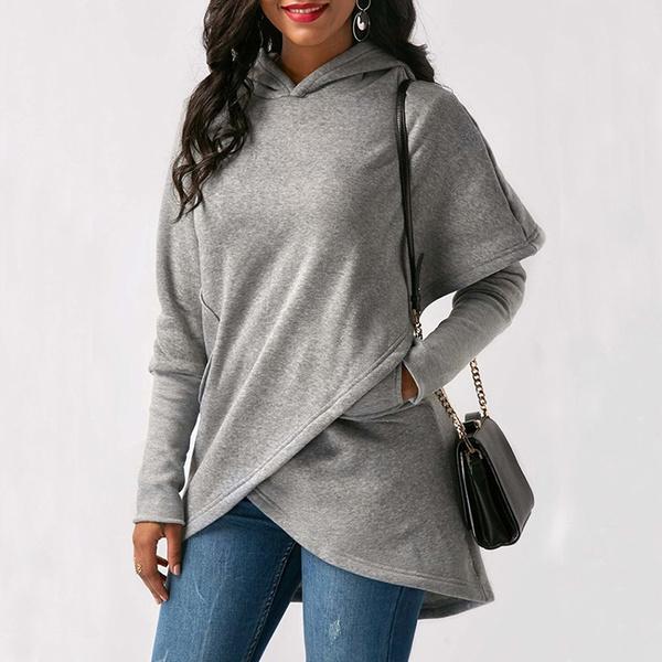 Plus Size, Long Sleeve, Pocket, Women's Fashion