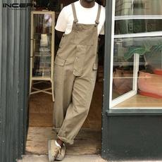 trousers, pants, korean style, loosedungaree