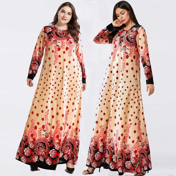 Size Velvet Turkish Kurdish Islamic Maxi Dress Abaya Size XL