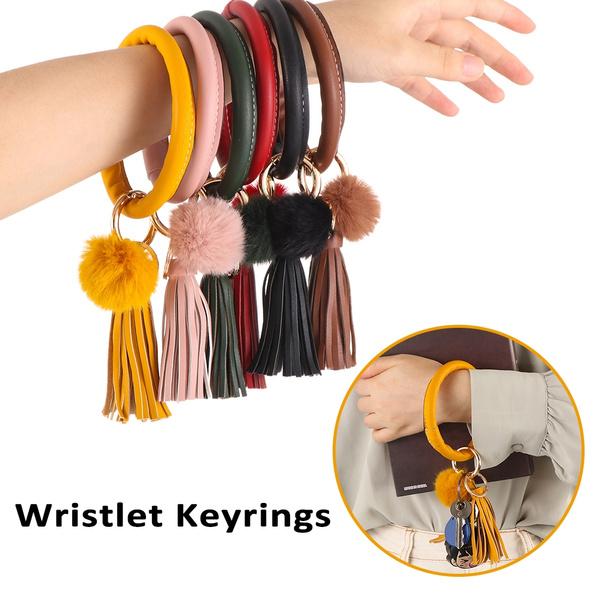 Pom Ball Bangle Bracelet O-ring Keychain Car Keyring Leather Wristlet Keyrings