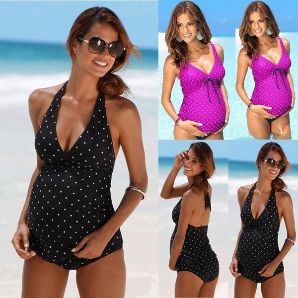 Plus Size, pregnancy swimwear, Halter, Bikini swimwear