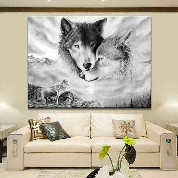 Decor, hangingdecoration, canvaspainting, wolfpainting