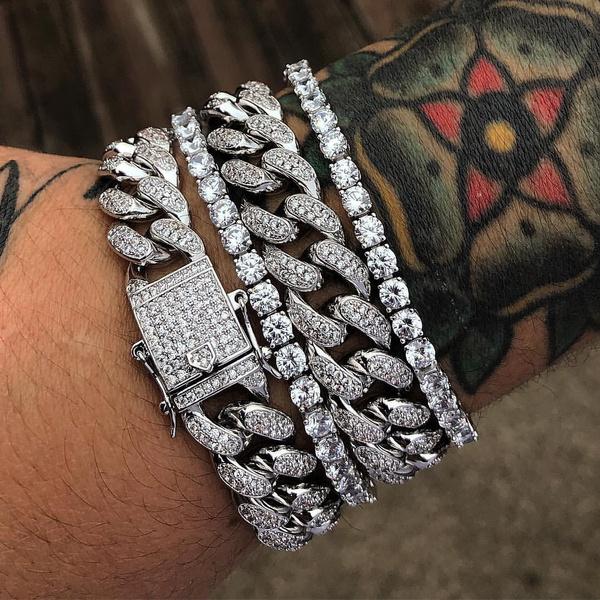 DIAMOND, Jewelry, hiphopbracelet, chainbraceletformen