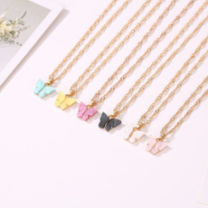 butterfly, clavicle  chain, Chain Necklace, Fashion