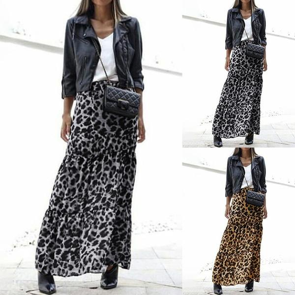 leopardskirt, Women, long skirt, Plus Size