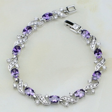 Charm Bracelet, Crystal Bracelet, Jewelry, purple