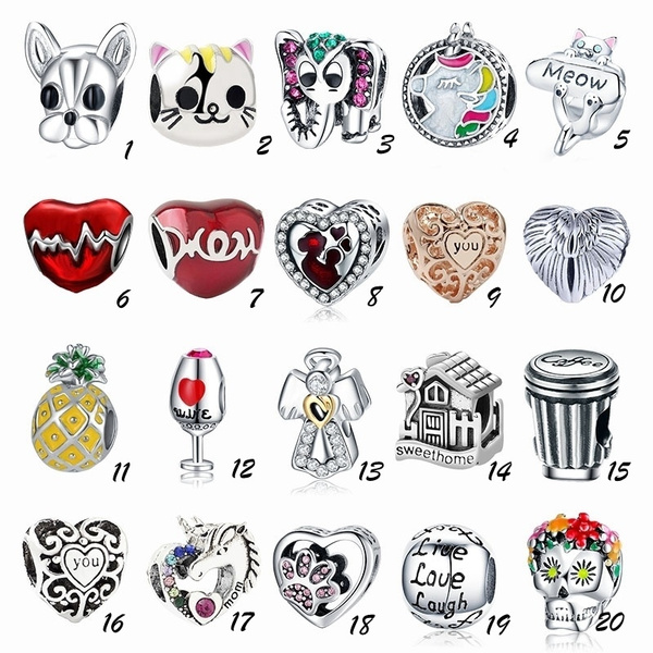 Heart, charms for pandora bracelets, cute, animalcharm
