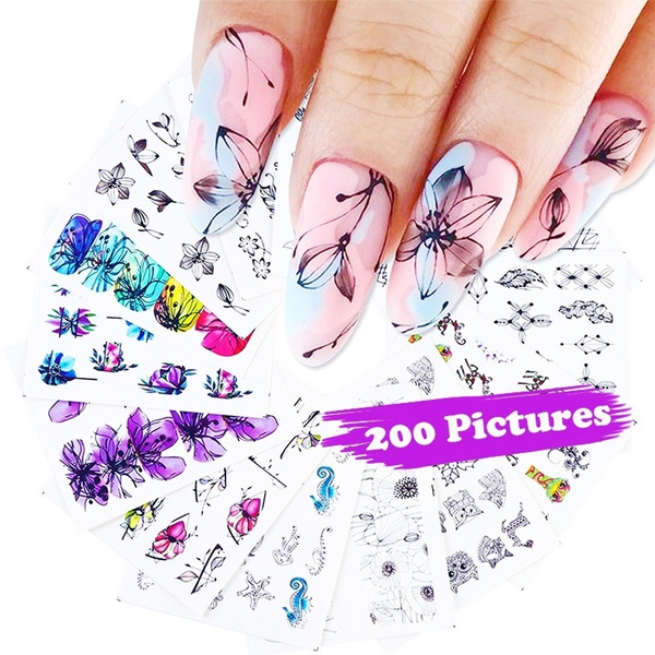 butterfly, tattoo, nail stickers, Flowers