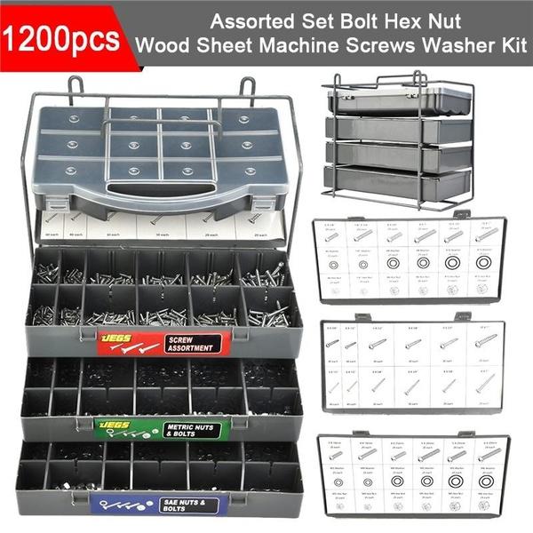 NUT BOLT SCREWS WASHER KIT1204pc Assorted SAE METRIC Hex Wood Sheet Machine Set