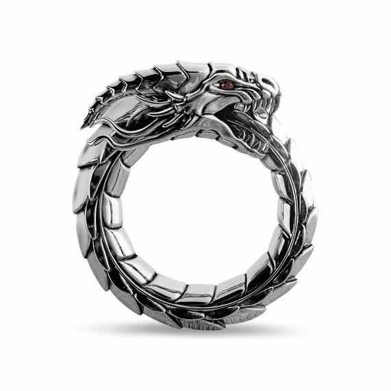Sterling, hip hop jewelry, dragonringsformen, 925 silver rings