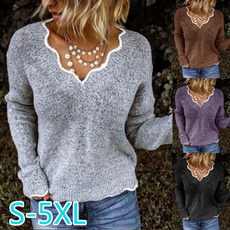 knitted, Plus Size, sweaters for women, Sleeve