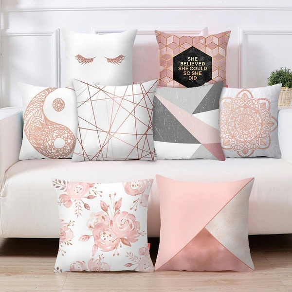 Pillow Case Rose Gold Geometric Pineapple Glitter Cushion Cover Home Decor Pink