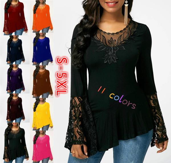 fashion women, Plus Size, Lace, tunic top
