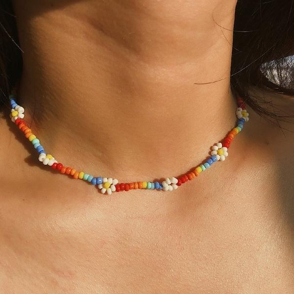 boho, Party Necklace, Flowers, Jewelry