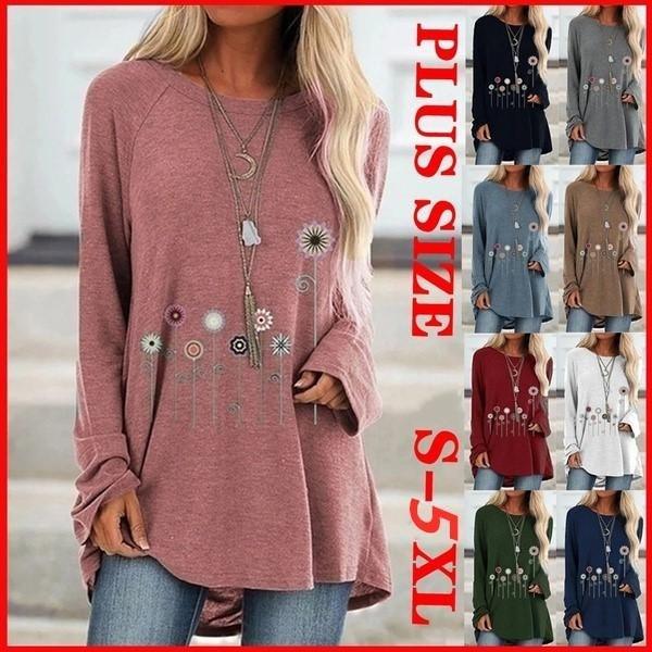Plus Size, Long Sleeve, blousecasual, Women's Fashion