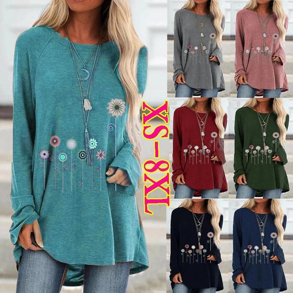 Plus Size, Cotton T Shirt, Women Blouse, Long Sleeve