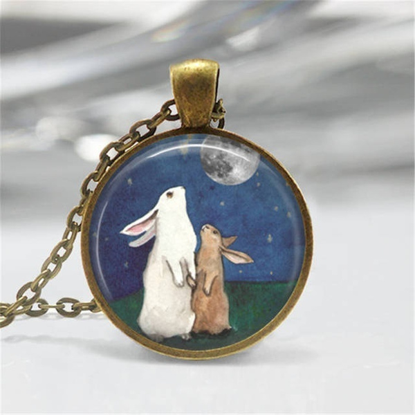 fullmoonnecklace, Necklace, art, fullmoonjewelrybunnynecklacebunnyjewelry