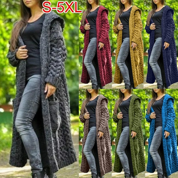 Plus Size, knitted sweater, sweater coat, Long Sleeve