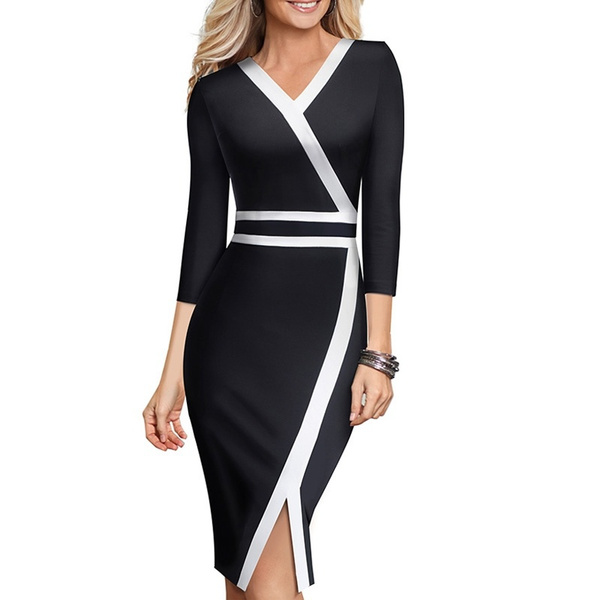 Office Lady Patchwork sans manches fente Bodycon Cocktail Party Banquet robe Faddi