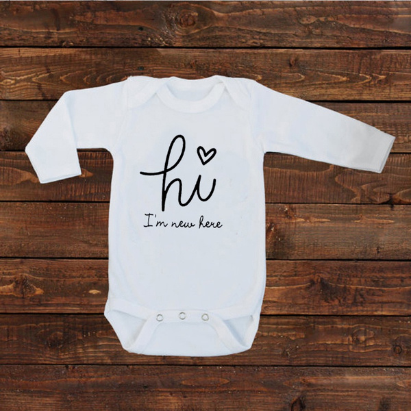 Unisex gift baby shower gift White Infant Baby Bodysuit with Hello I/'m New Here design baby boy gift baby girl gift welcome baby outfit