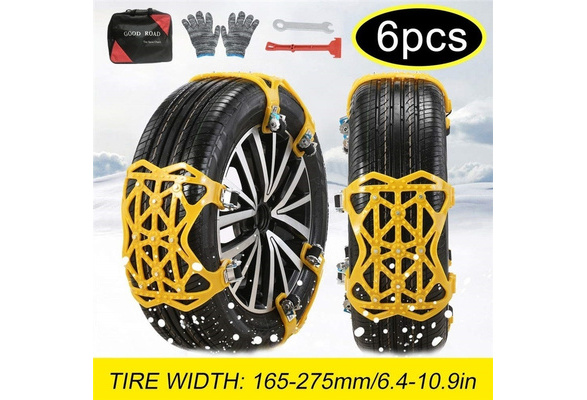 Small Acouto 3PCS Snow Tire Anti Skid Chains Steel Tire Chains Security Anti-Slip Snow Chain Belt For Car Truck SUV RV