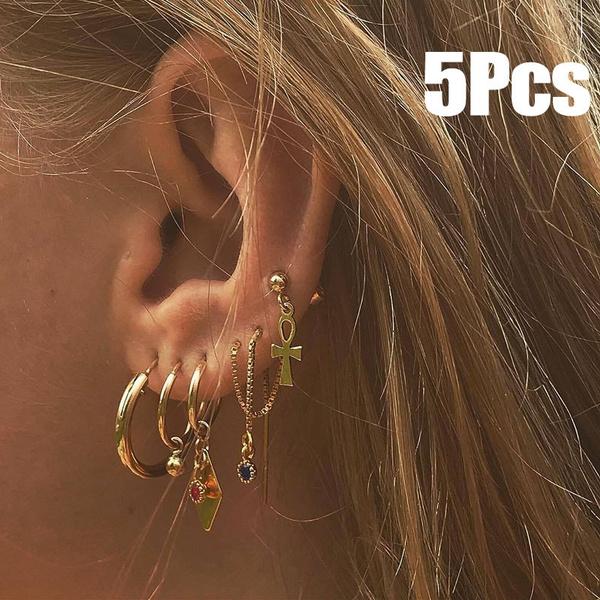 charmearring, crossearring, Hoop Earring, Jewelry