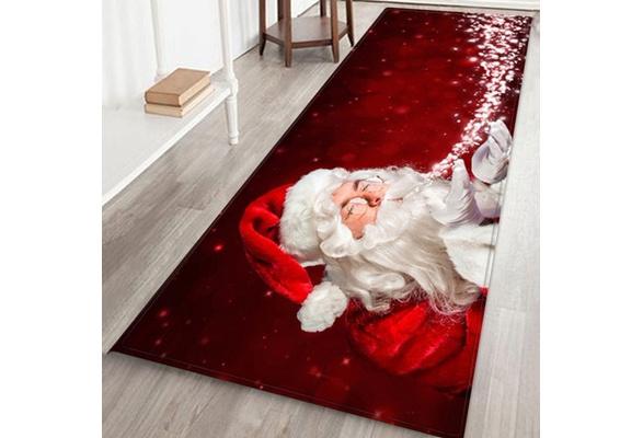 Christmas 3d Santa Claus Print Soft Flannel Anti Slip Bath Rug Doormat Floor Mats Area Rugs Runners Wish