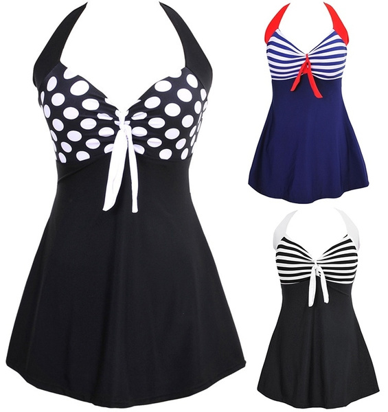 padded tankinis, Fashion, halter dress, Plus Size Swimwear