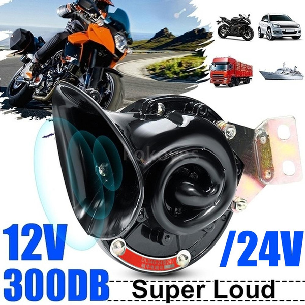 ZHAXGLB Loud 300DB 12V Black Electric Snail Horn ABS and Metal Material Air Raging Sound For Car Motorcycle Truck Boat Accessories horn